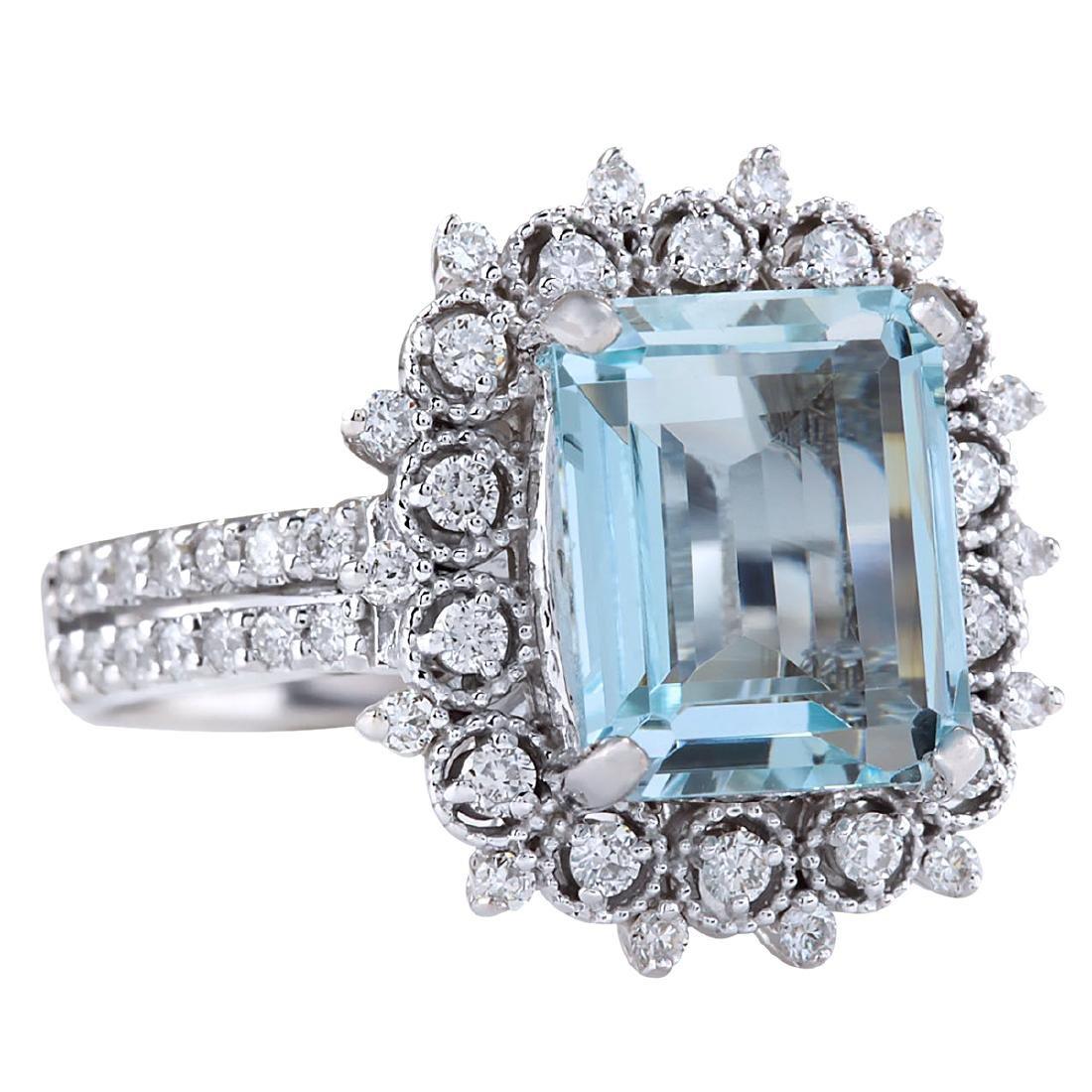 4.15CTW Natural Aquamarine And Diamond Ring In 18K - 2