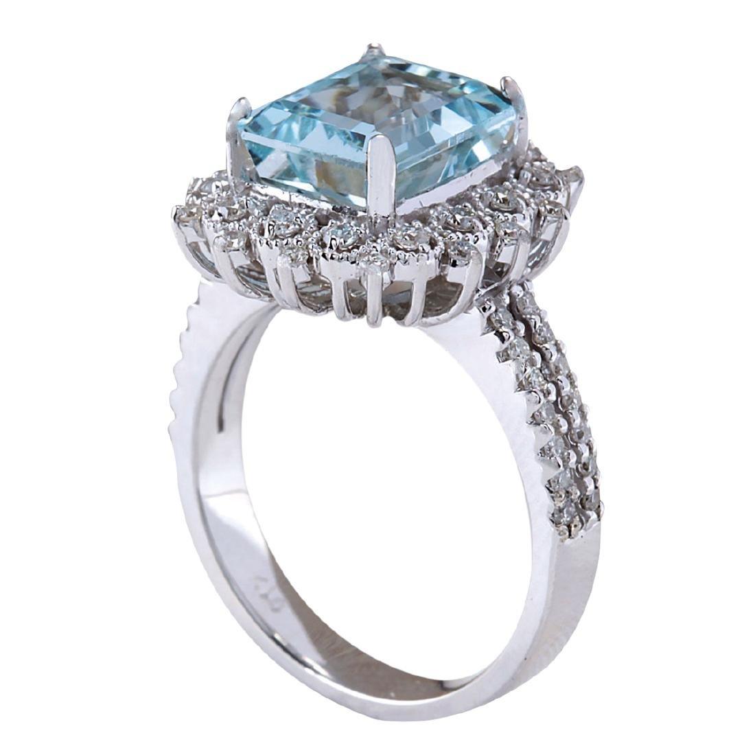 4.15CTW Natural Aquamarine And Diamond Ring In 18K - 3