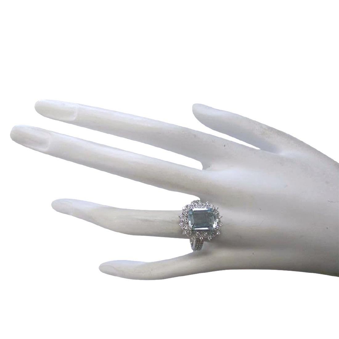 4.15CTW Natural Aquamarine And Diamond Ring In 18K - 4