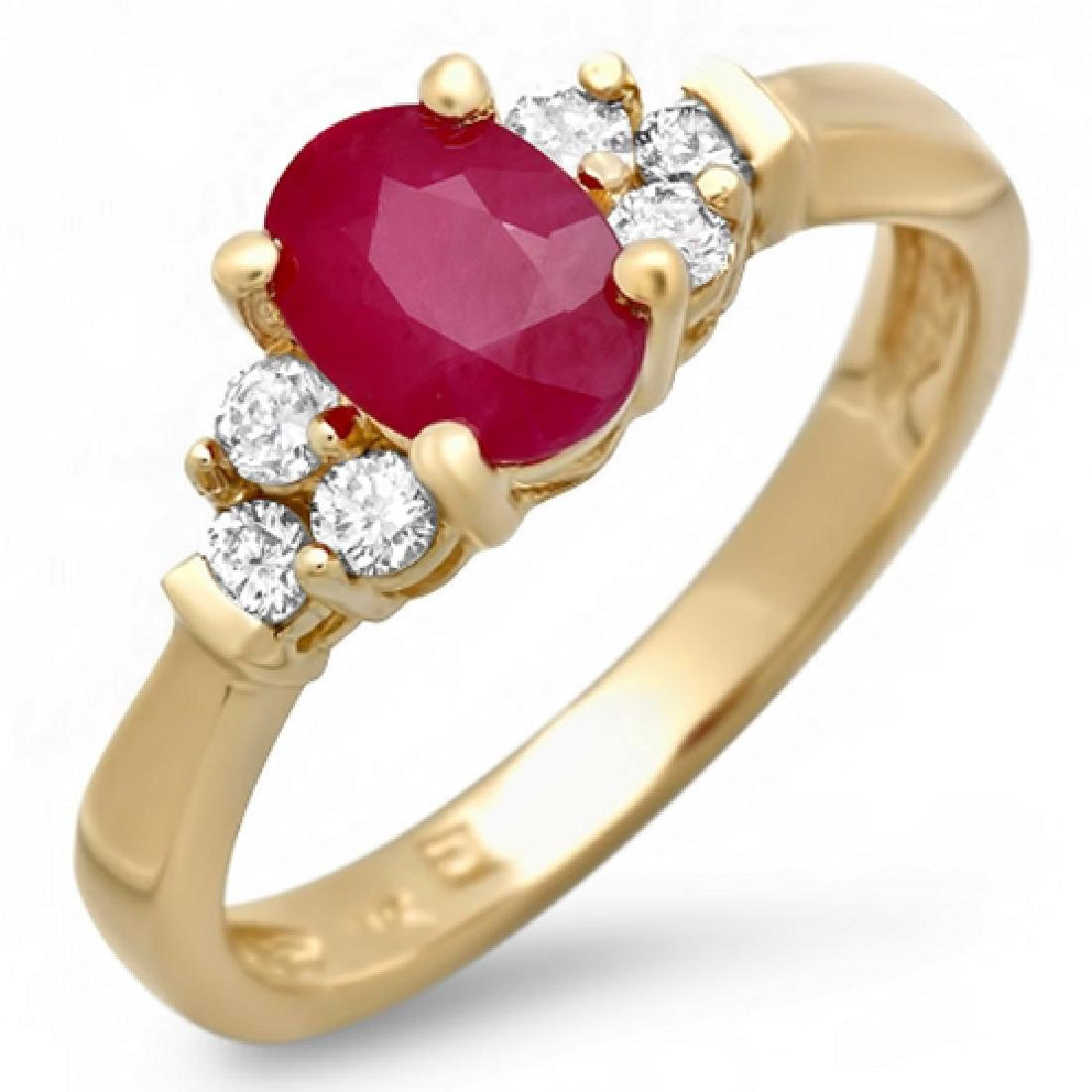 1.22 Carat Natural Ruby 18K Solid Yellow Gold Diamond