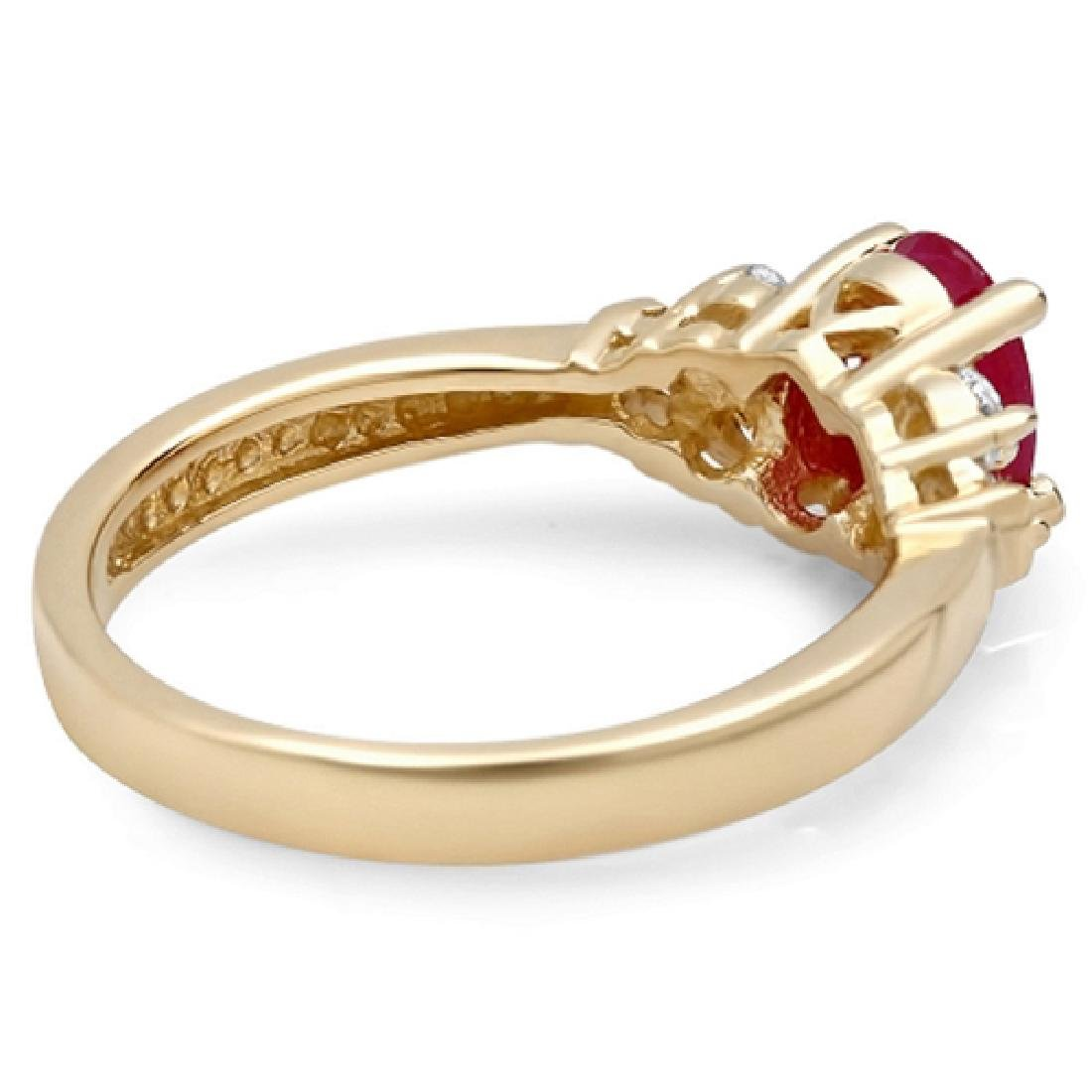 1.22 Carat Natural Ruby 18K Solid Yellow Gold Diamond - 2