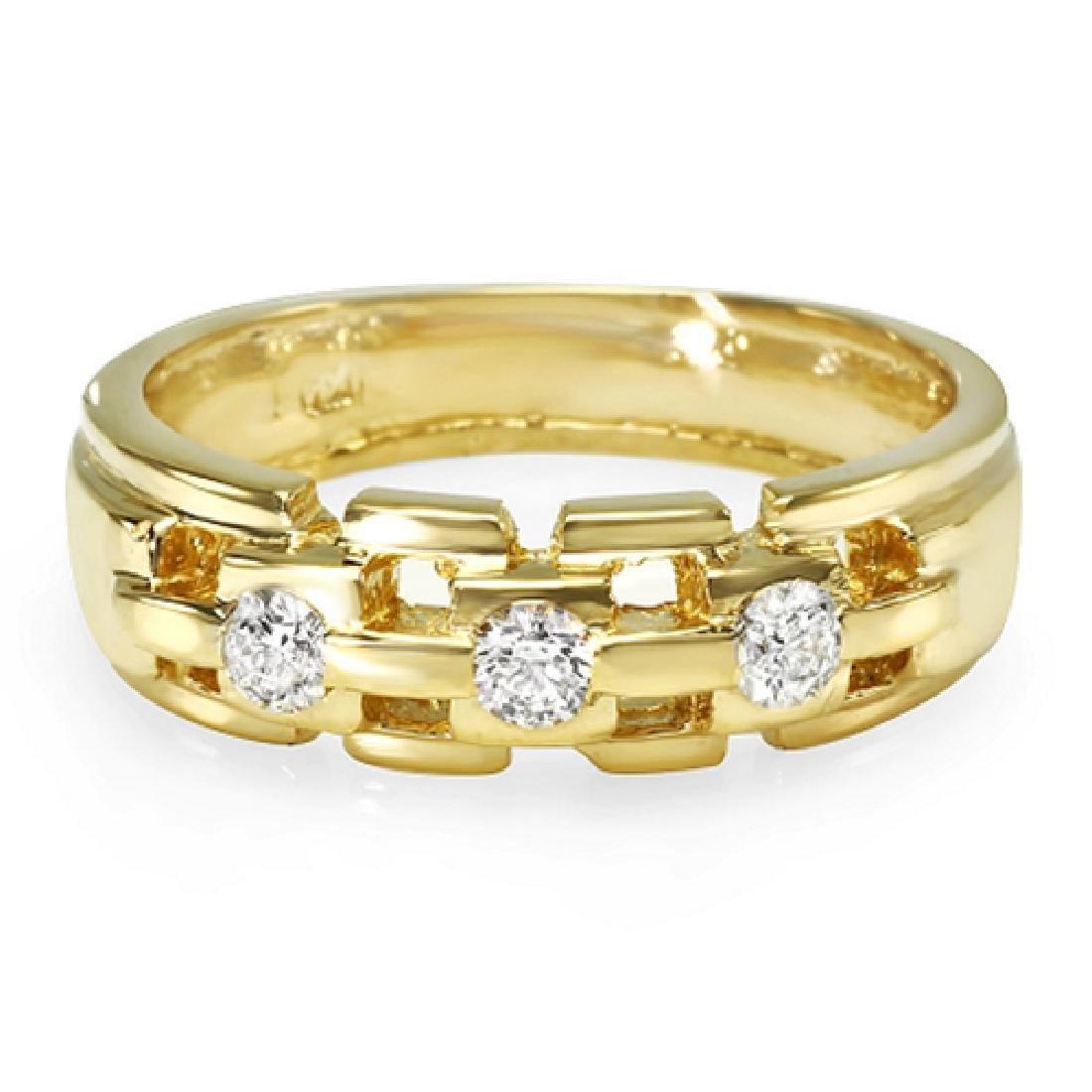 Mens 0.56 Carat Natural Diamond 18K Solid Yellow Gold
