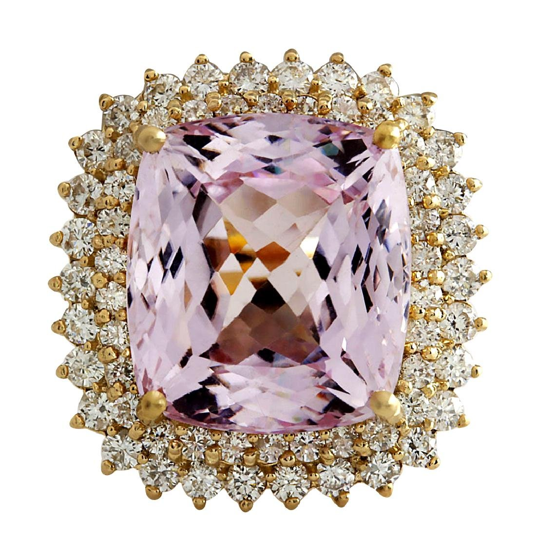21.94CTW Natural Kunzite And Diamond Ring 18K Solid
