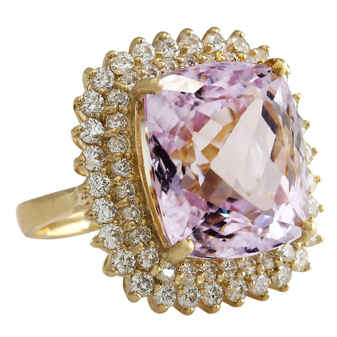 21.94CTW Natural Kunzite And Diamond Ring 18K Solid - 2
