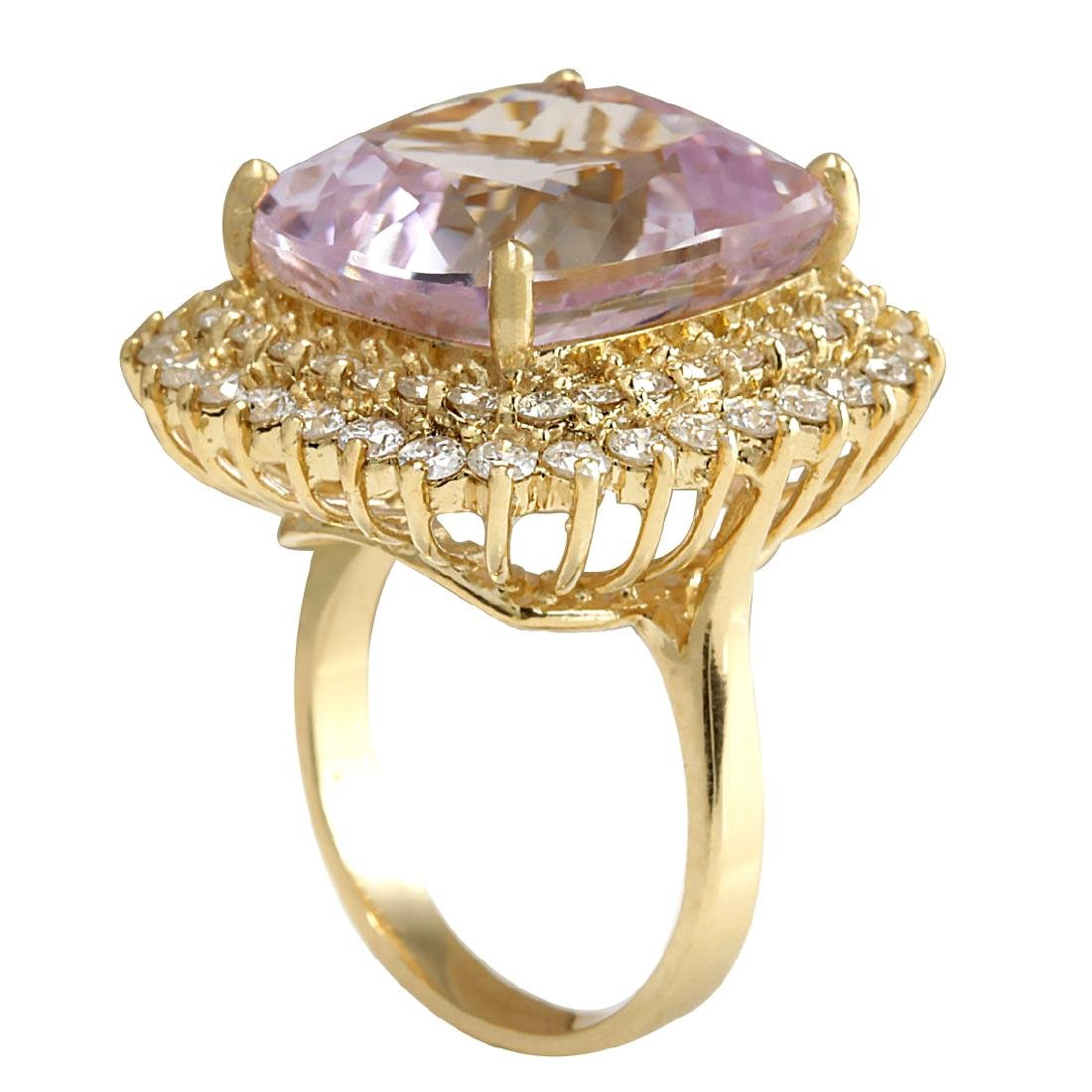 21.94CTW Natural Kunzite And Diamond Ring 18K Solid - 3