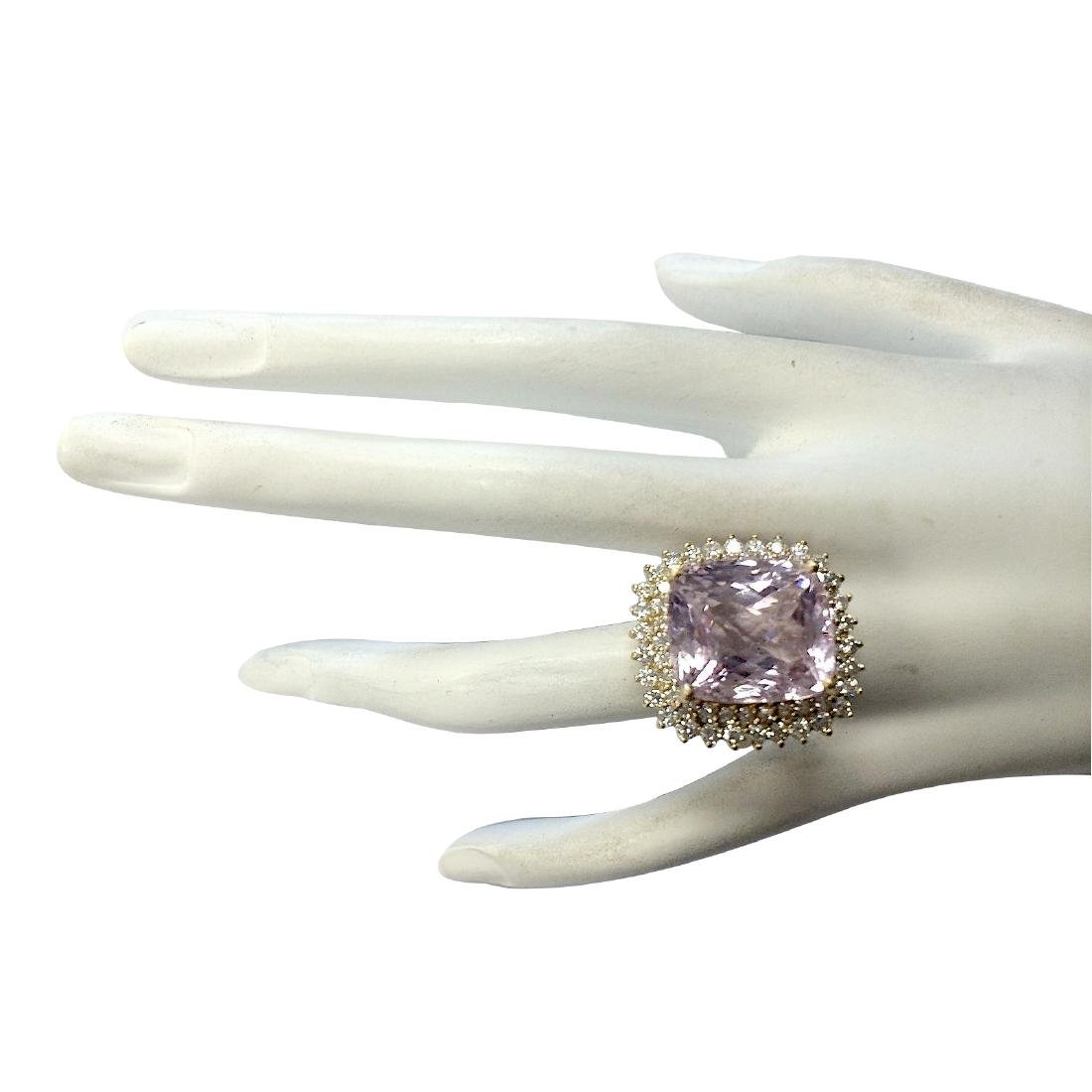 21.94CTW Natural Kunzite And Diamond Ring 18K Solid - 4