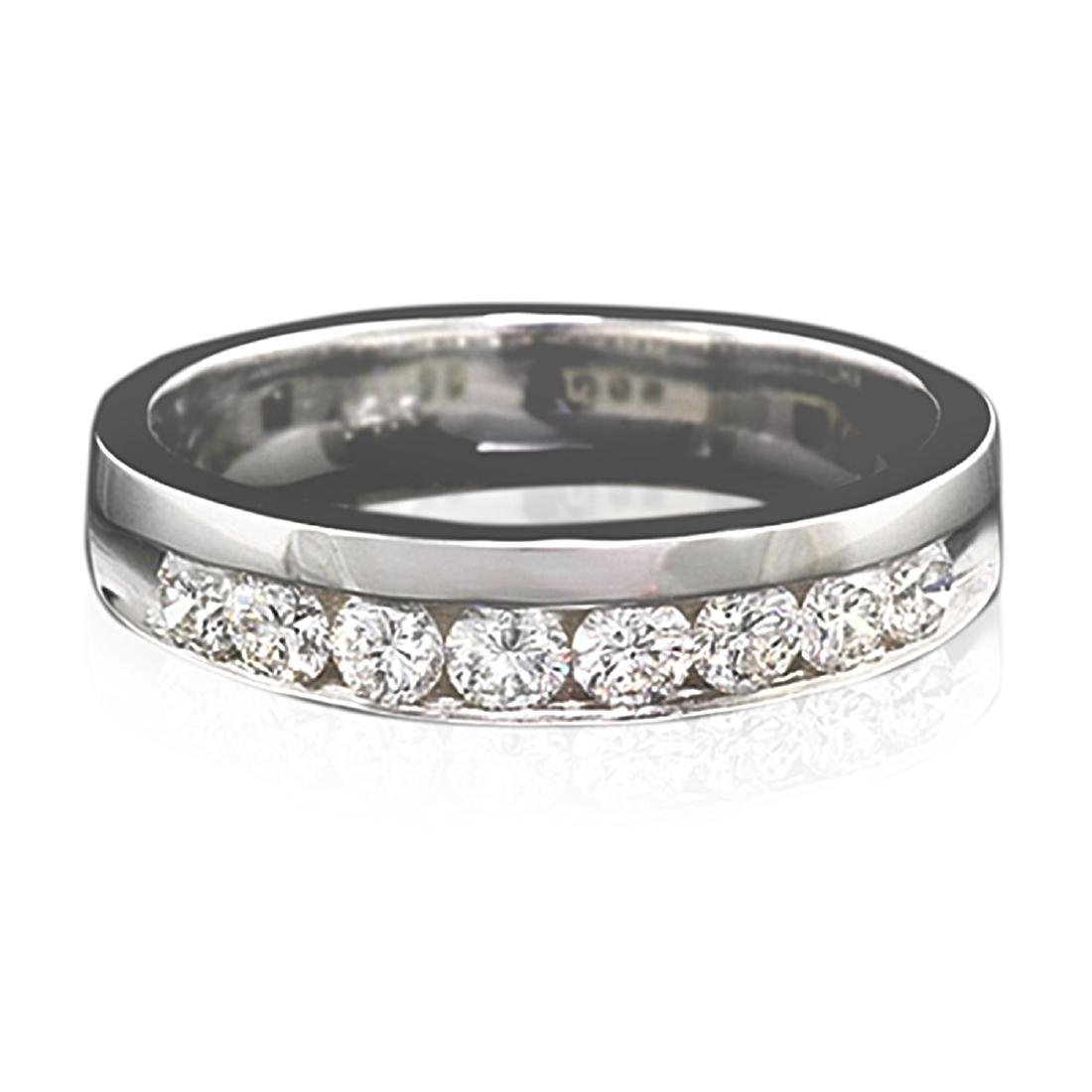 Mens 1.00 Carat Natural Diamond 18K Solid White Gold