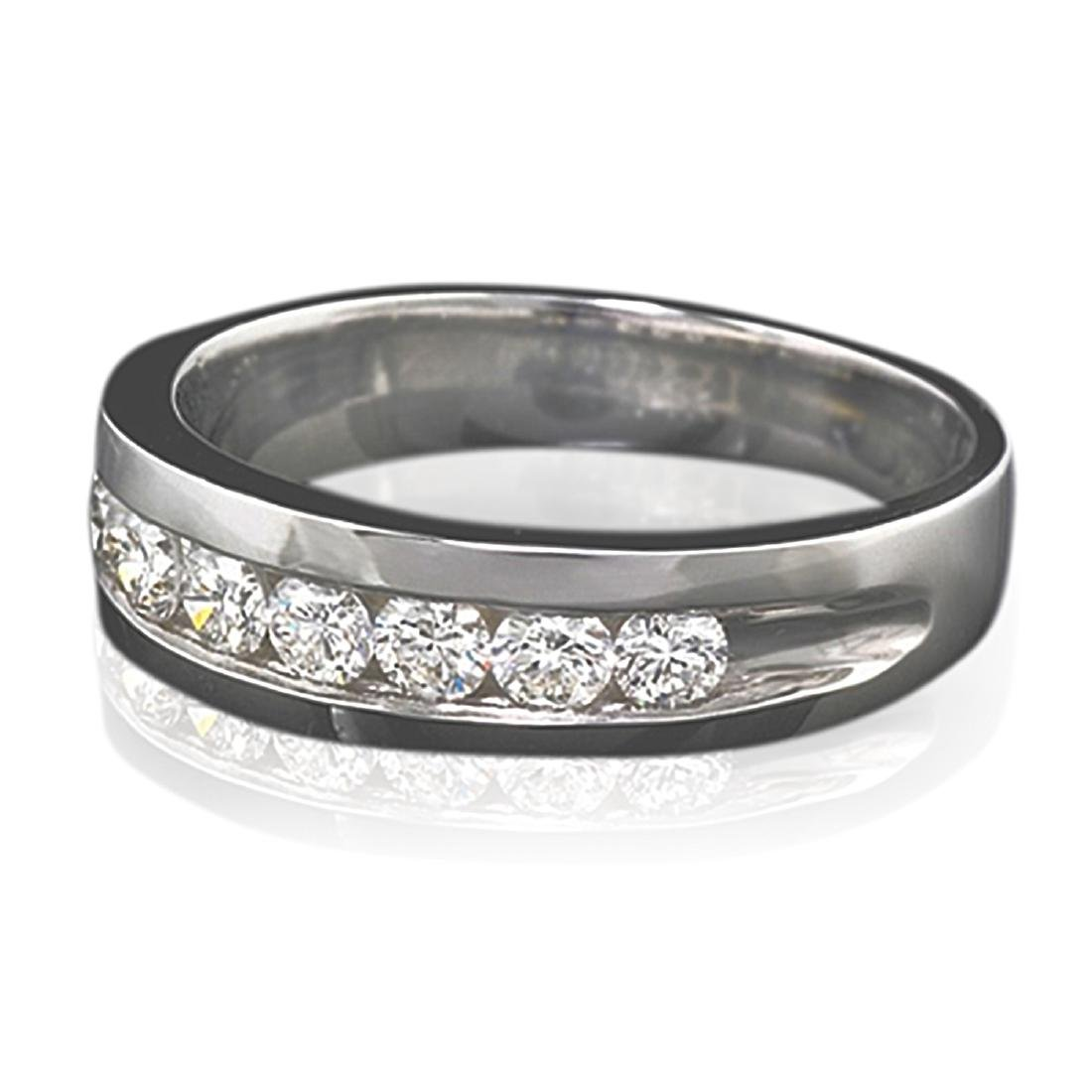 Mens 1.00 Carat Natural Diamond 18K Solid White Gold - 2