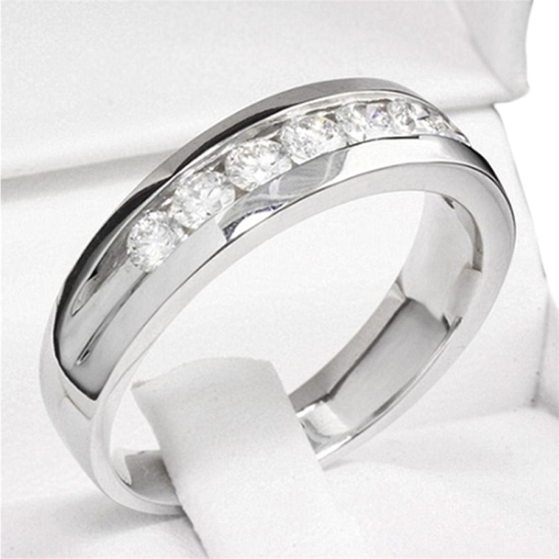 Mens 1.00 Carat Natural Diamond 18K Solid White Gold - 3