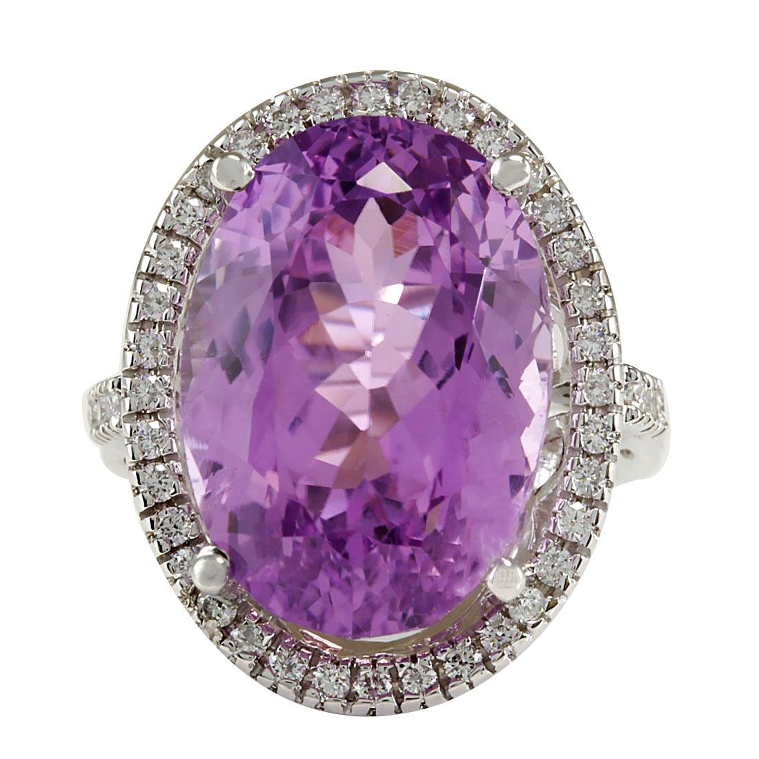 26.68CTW Natural Kunzite And Diamond Ring 18K Solid