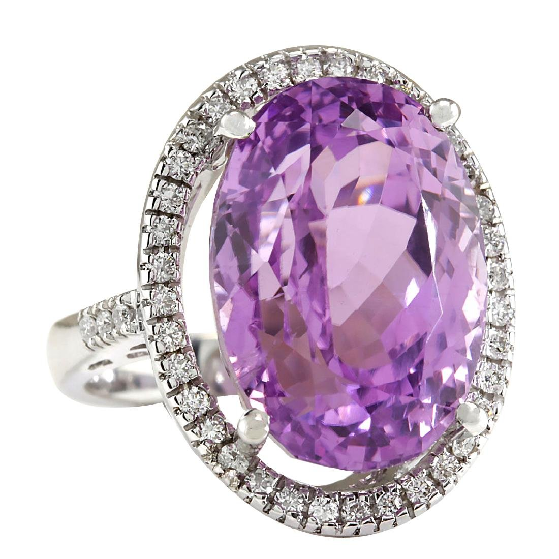 26.68CTW Natural Kunzite And Diamond Ring 18K Solid - 2