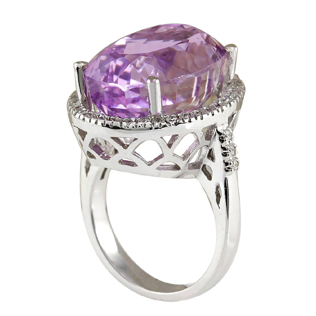 26.68CTW Natural Kunzite And Diamond Ring 18K Solid - 3