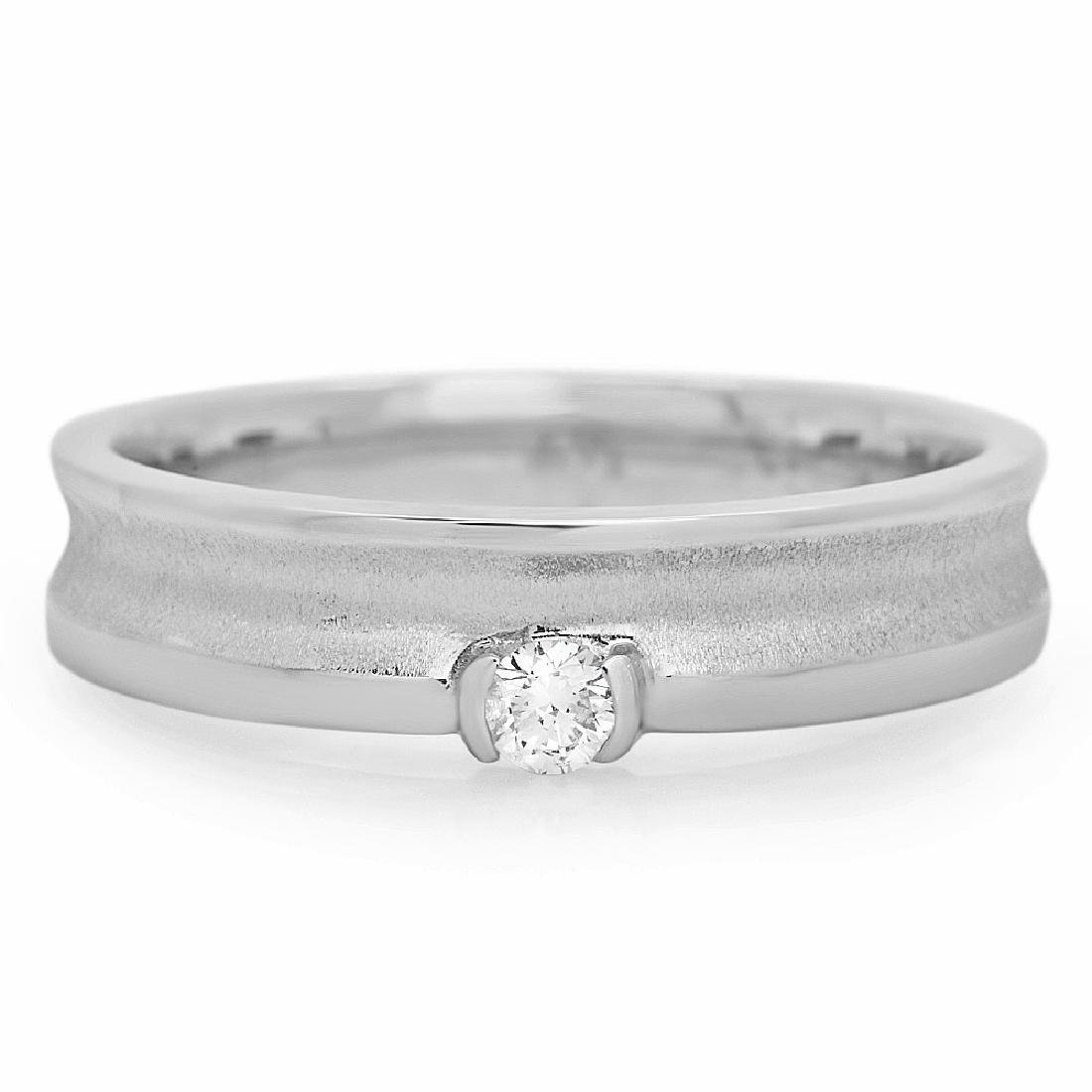 Mens 0.11 Carat Natural Diamond 18K Solid White Gold