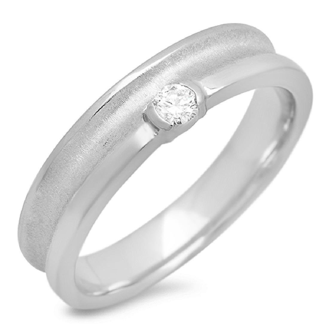 Mens 0.11 Carat Natural Diamond 18K Solid White Gold - 2