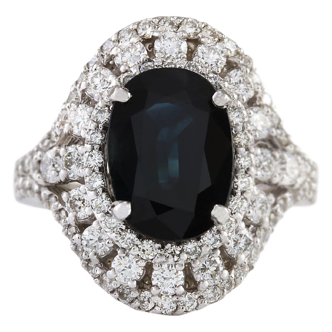 6.15 CTW Natural Sapphire And Diamond Ring In 18K White