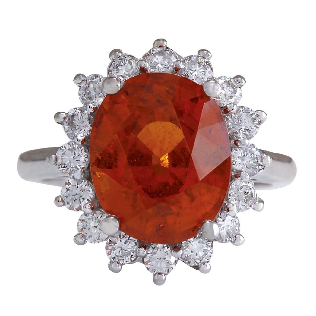 9.26Ct Natural Mandarin Garnet And Diamond Ring In18K