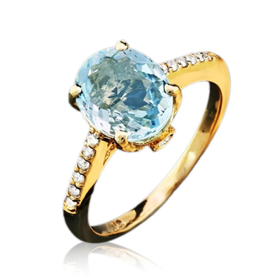 2.70 Carat Natural Aquamarine 18K Solid Yellow Gold