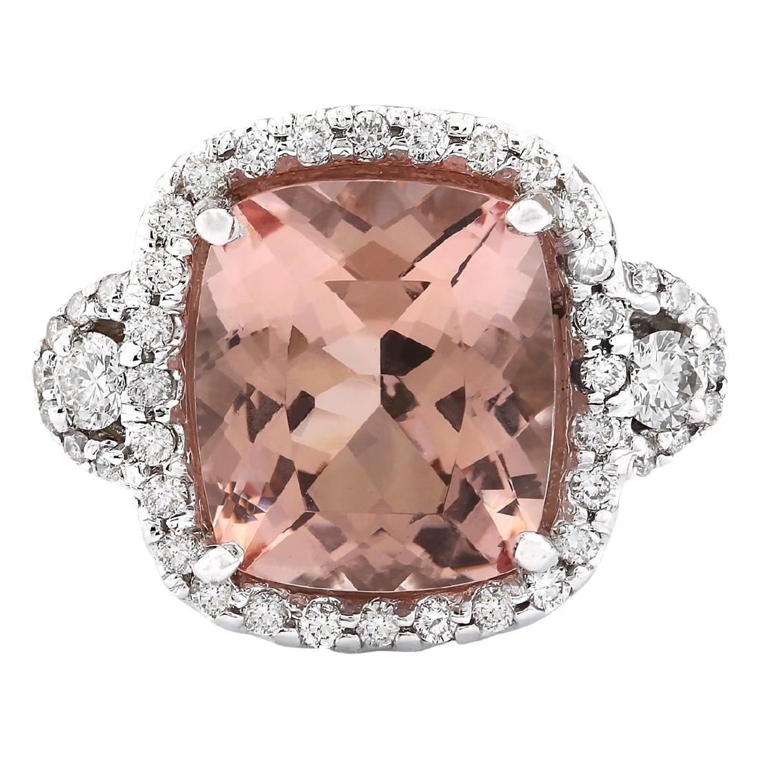 12.01 CTW Natural Morganite And Diamond Ring In 18K
