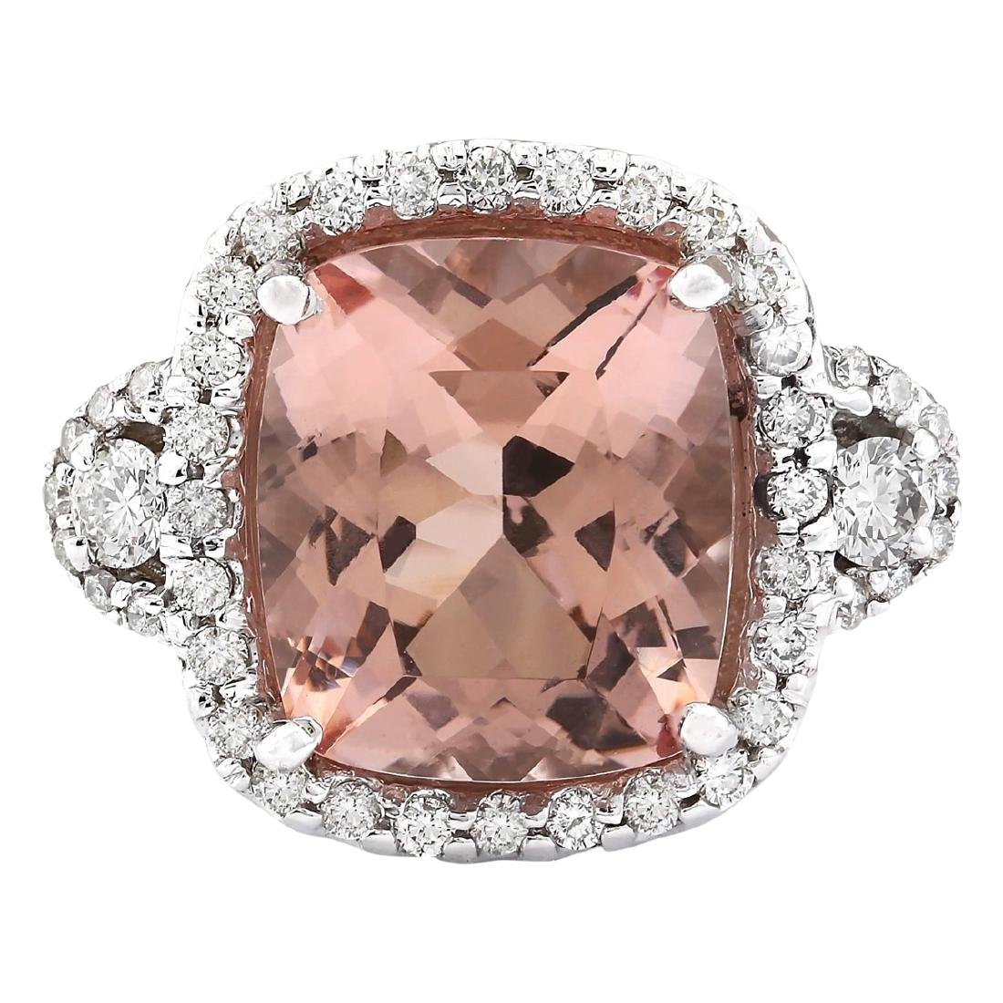 12.01 CTW Natural Morganite And Diamond Ring In 18K