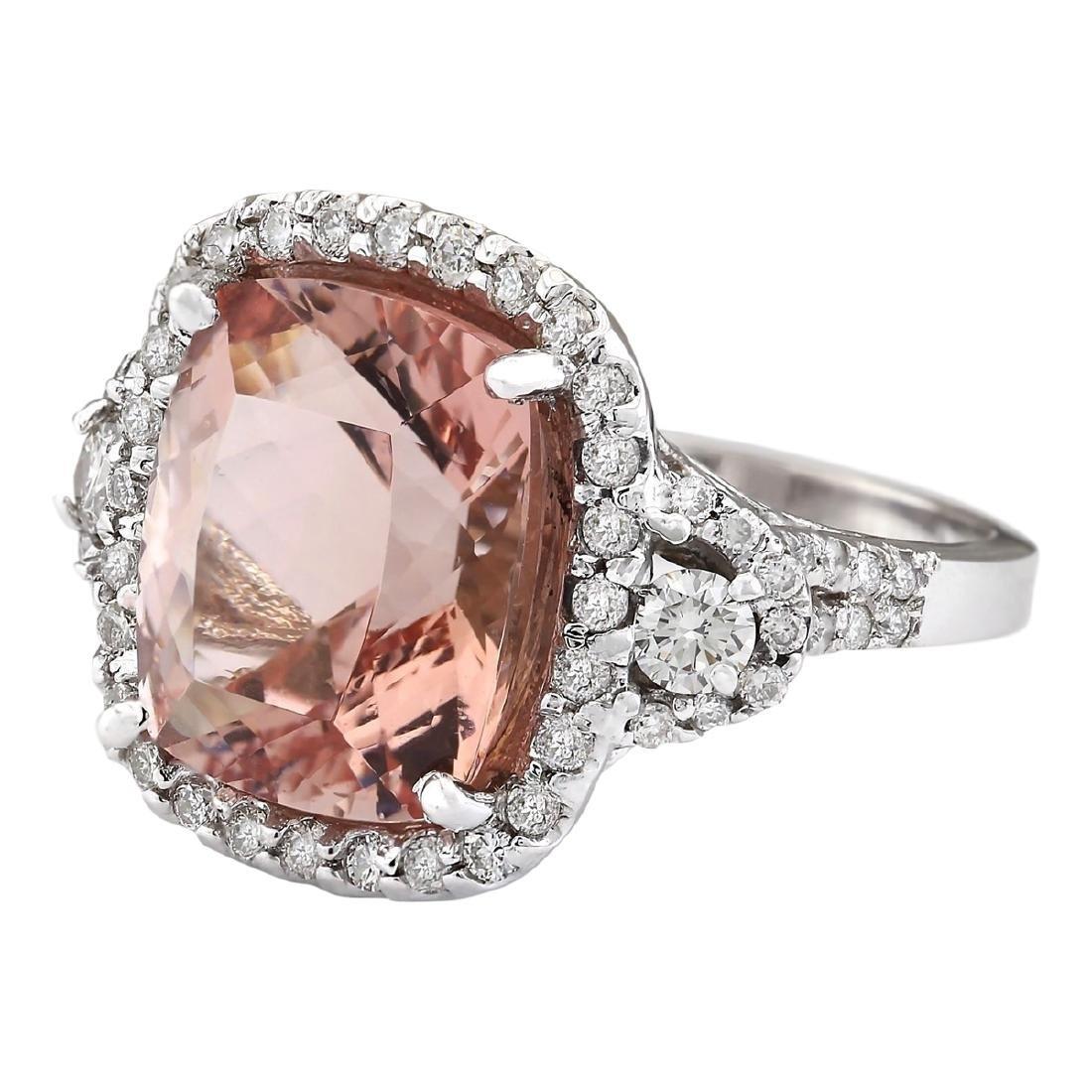 12.01 CTW Natural Morganite And Diamond Ring In 18K - 2