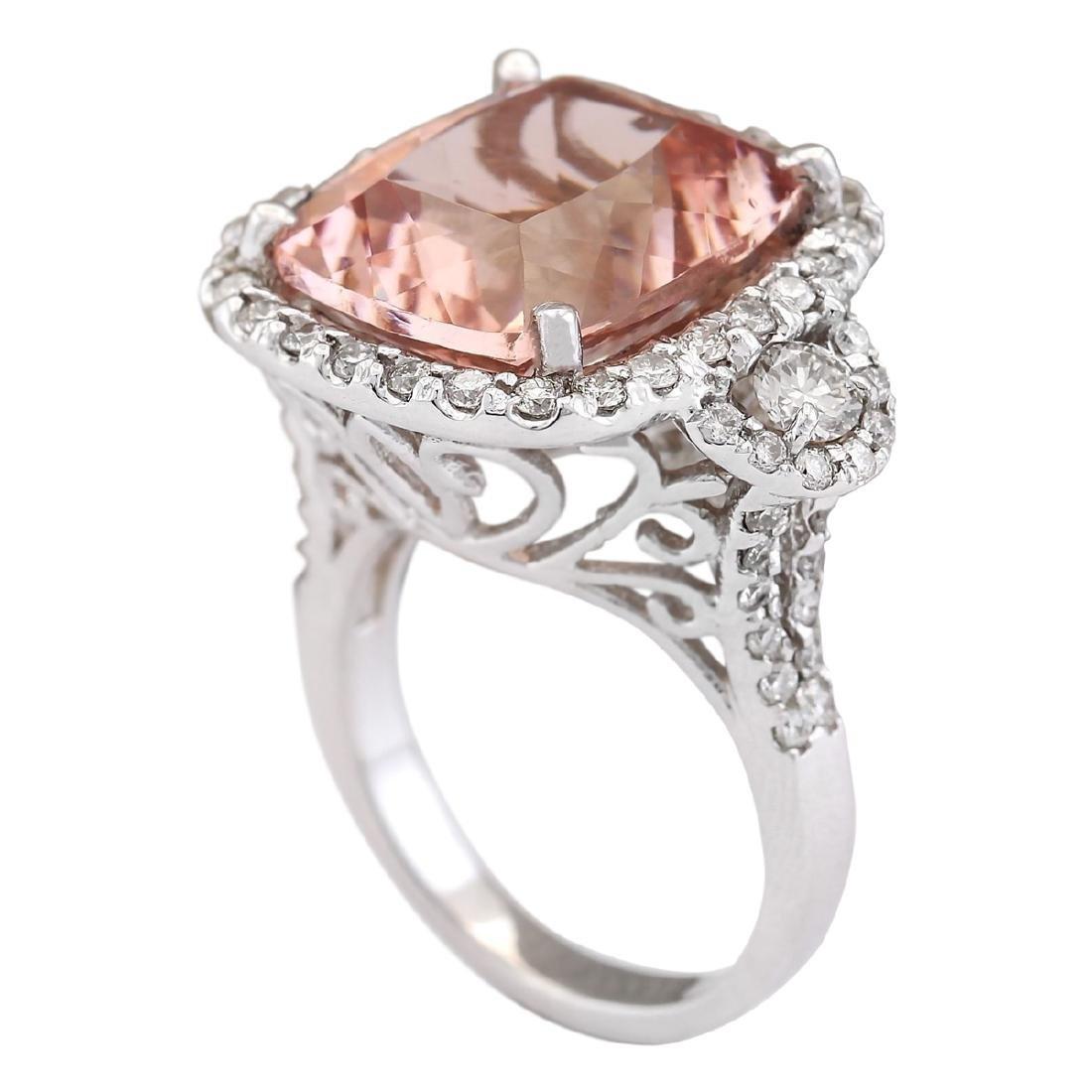 12.01 CTW Natural Morganite And Diamond Ring In 18K - 3