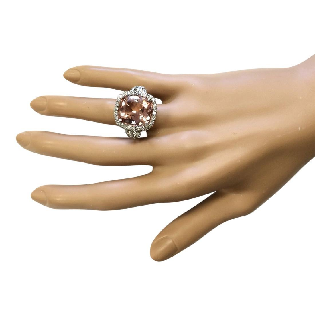 12.01 CTW Natural Morganite And Diamond Ring In 18K - 4
