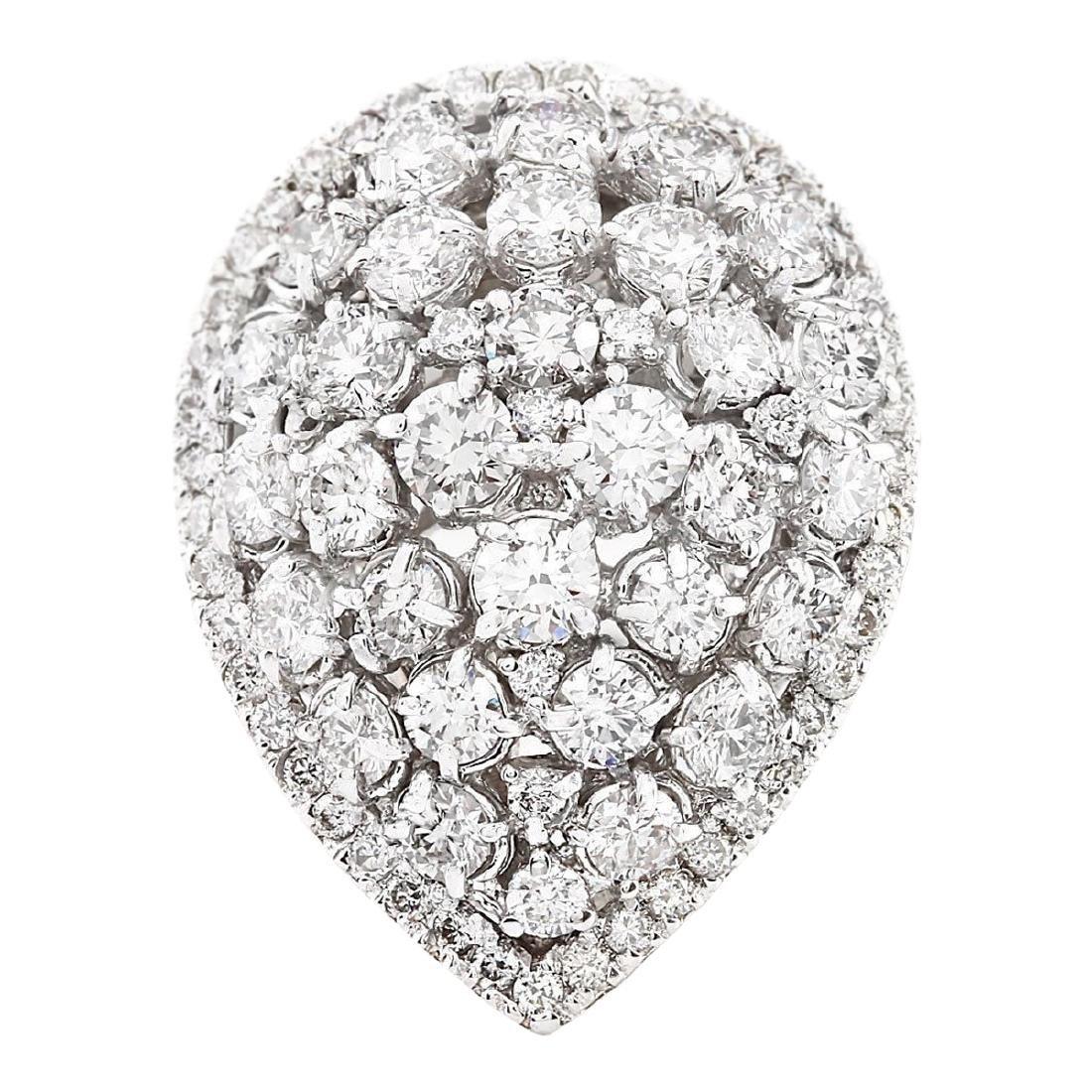 3.70 CTW Natural Diamond Ring In 18K White Gold