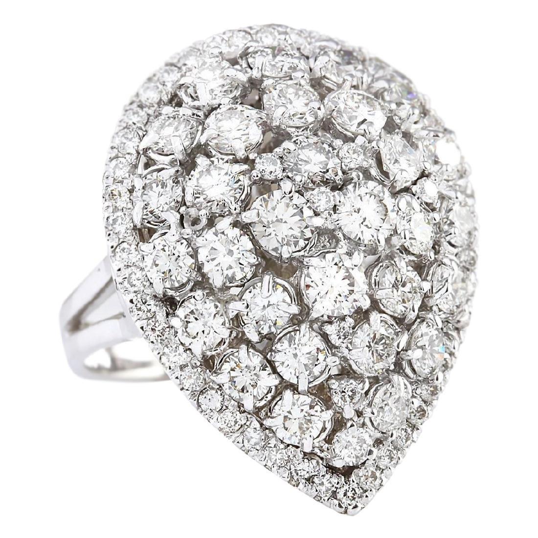3.70 CTW Natural Diamond Ring In 18K White Gold - 2