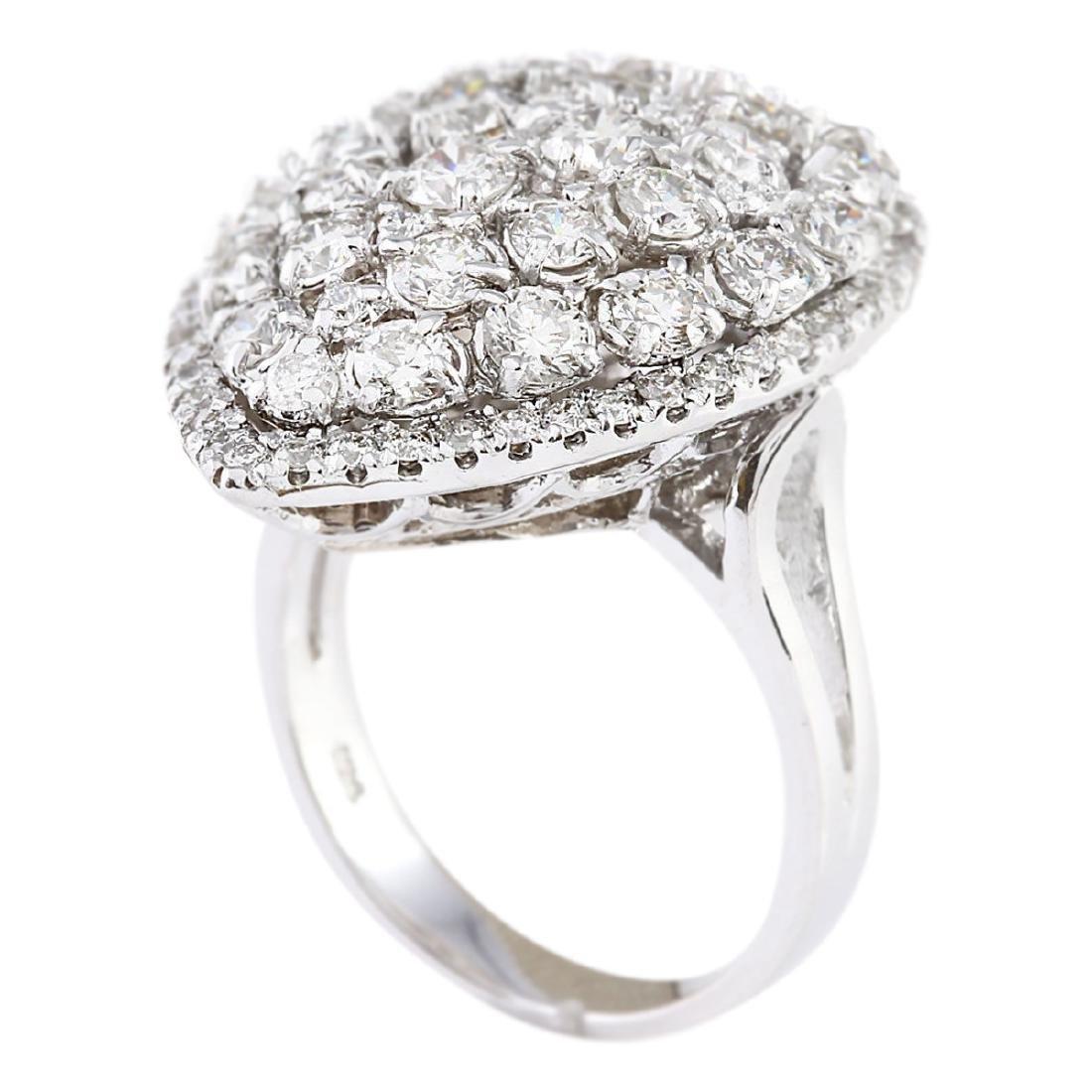 3.70 CTW Natural Diamond Ring In 18K White Gold - 3