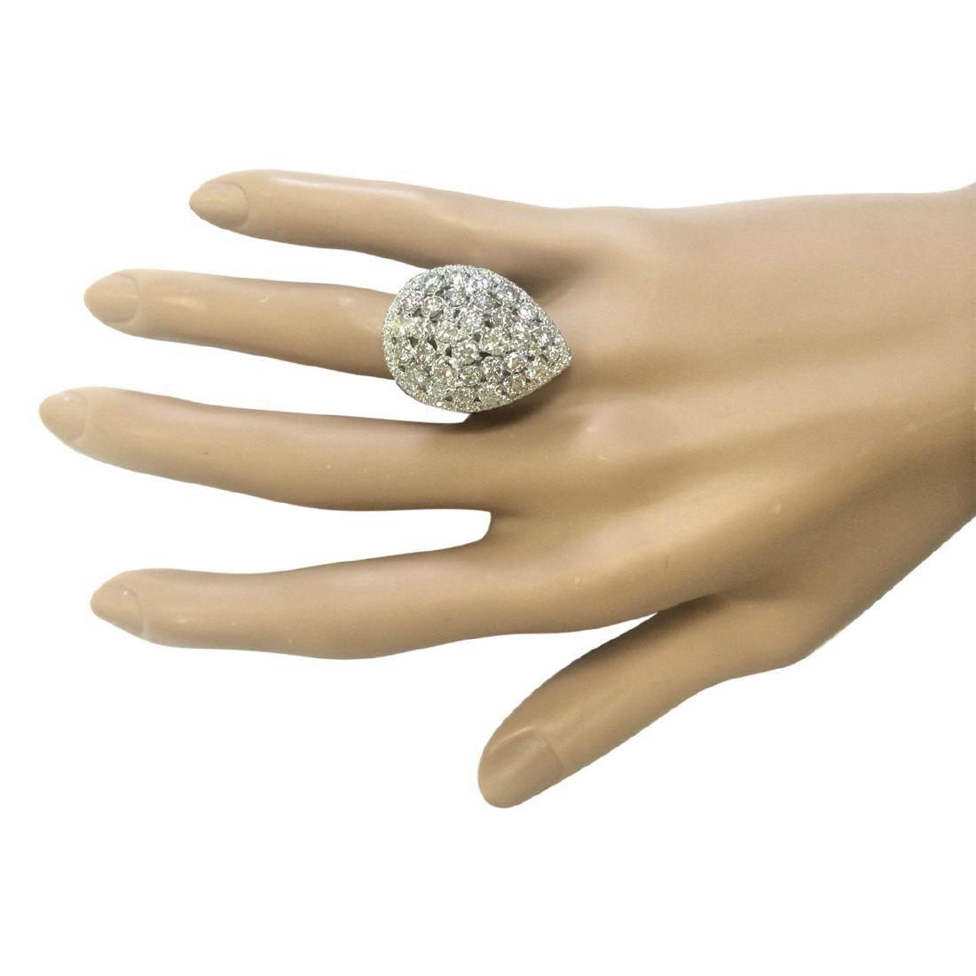 3.70 CTW Natural Diamond Ring In 18K White Gold - 4
