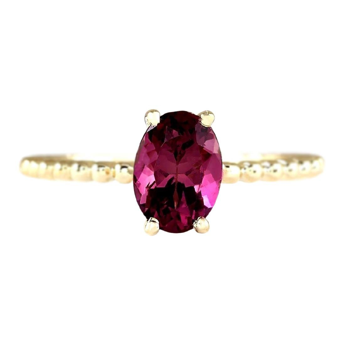 1.31 CTW Natural Pink Tourmaline Ring In 18K Yellow