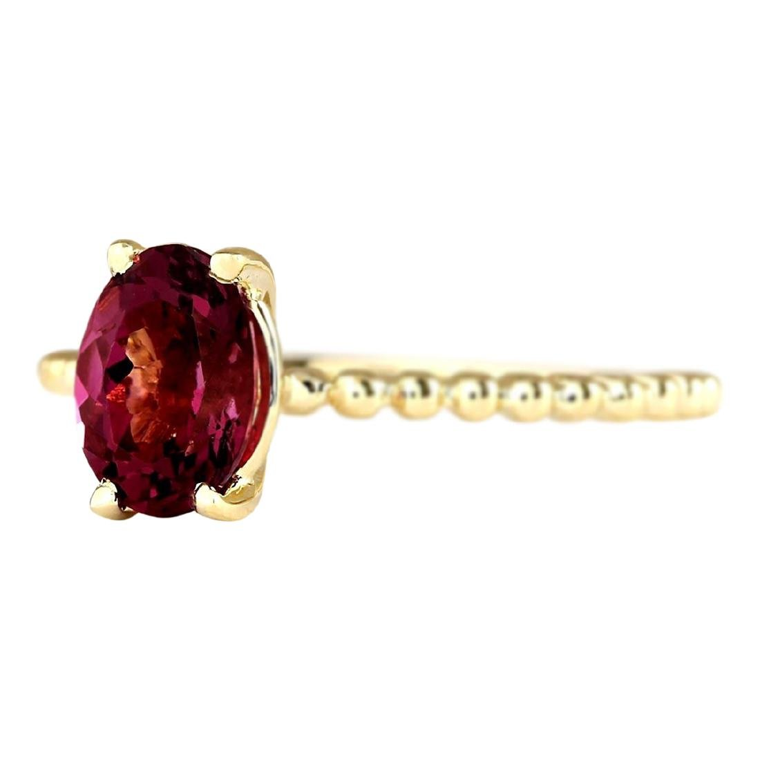 1.31 CTW Natural Pink Tourmaline Ring In 18K Yellow - 2