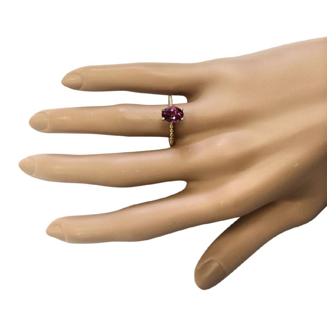 1.31 CTW Natural Pink Tourmaline Ring In 18K Yellow - 4