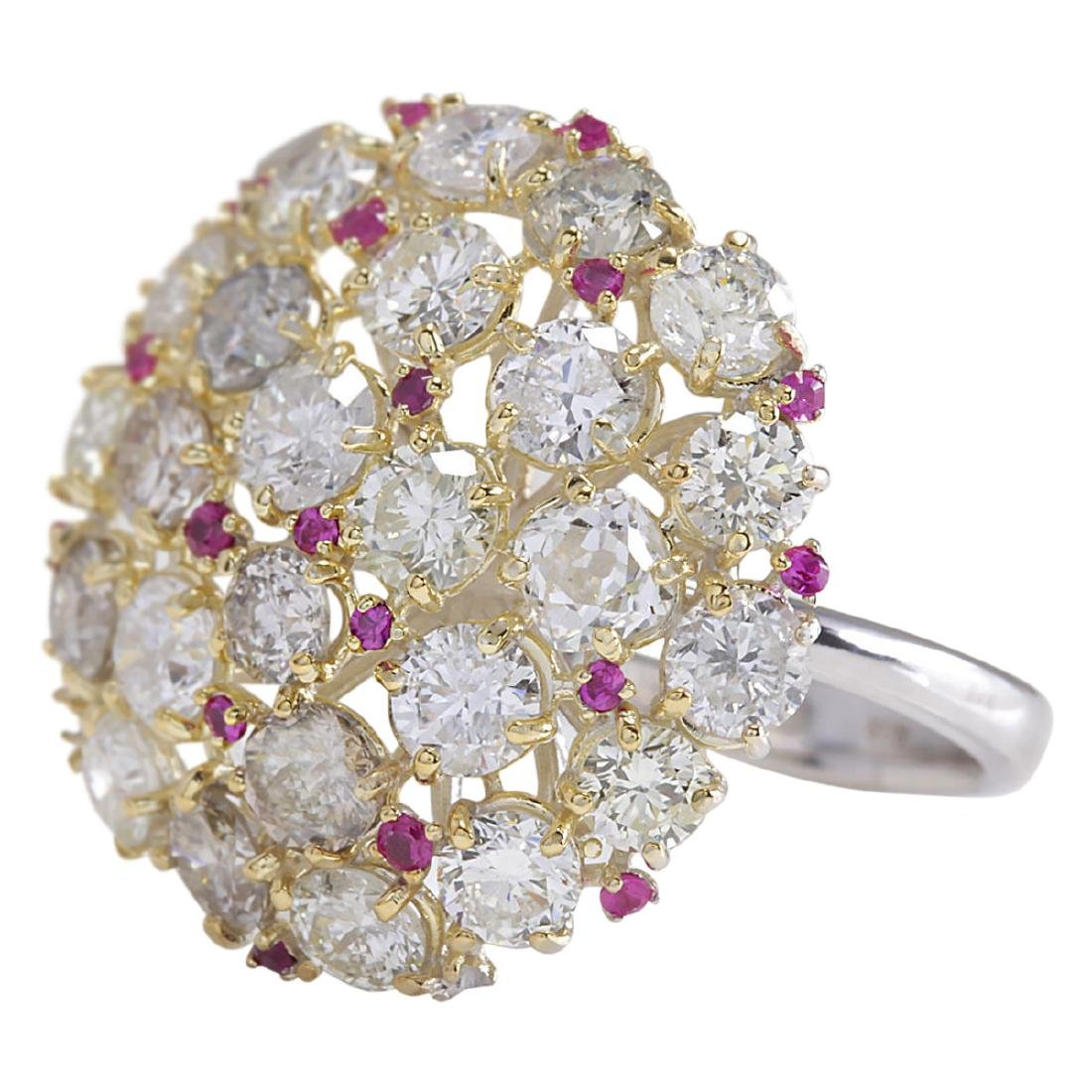5.42 CTW Natural Red Ruby Diamond Ring 18K Solid White - 2