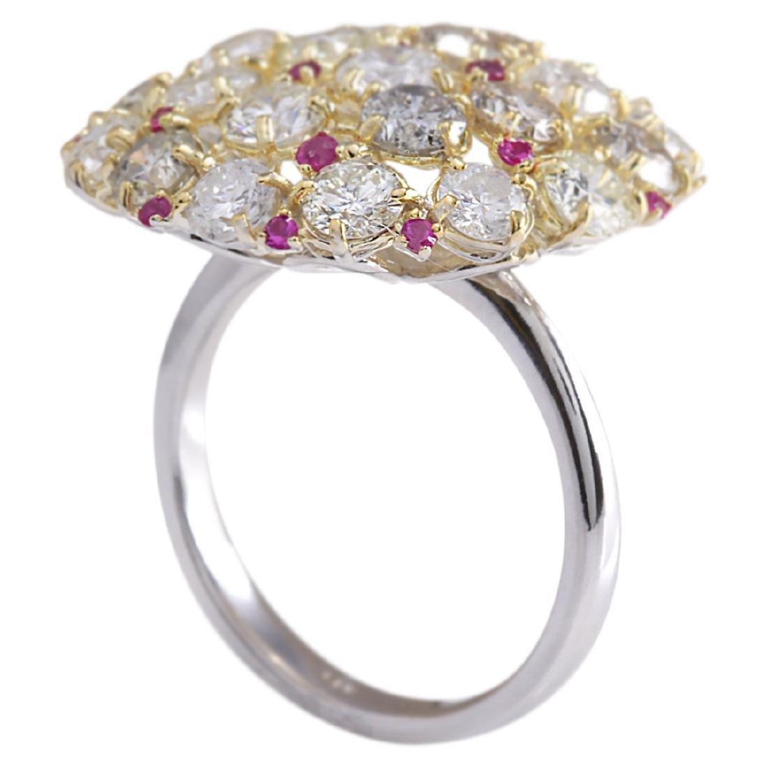 5.42 CTW Natural Red Ruby Diamond Ring 18K Solid White - 3
