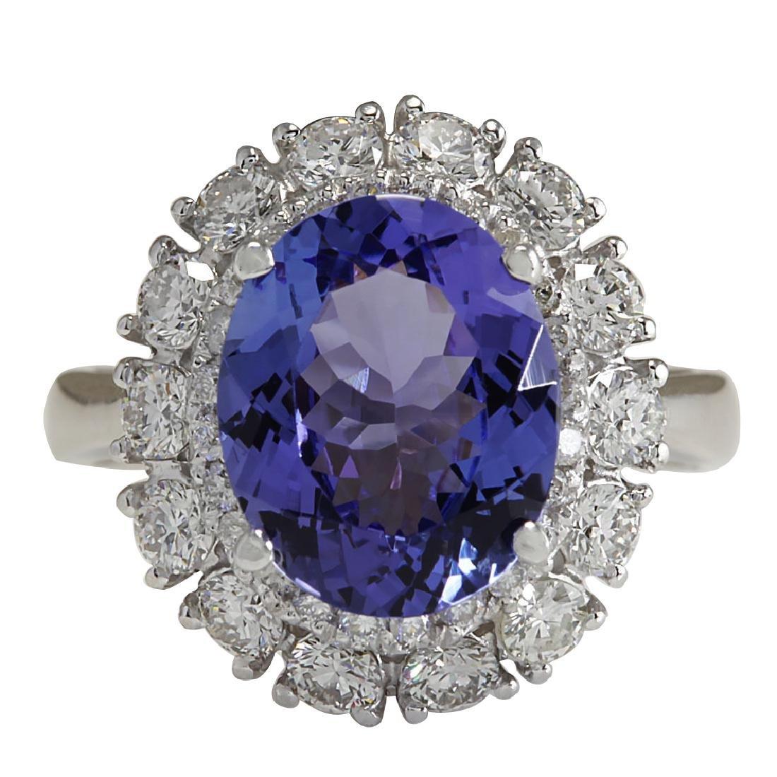 4.88CTW Natural Blue Tanzanite And Diamond Ring 18K