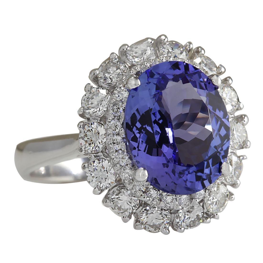 4.88CTW Natural Blue Tanzanite And Diamond Ring 18K - 2