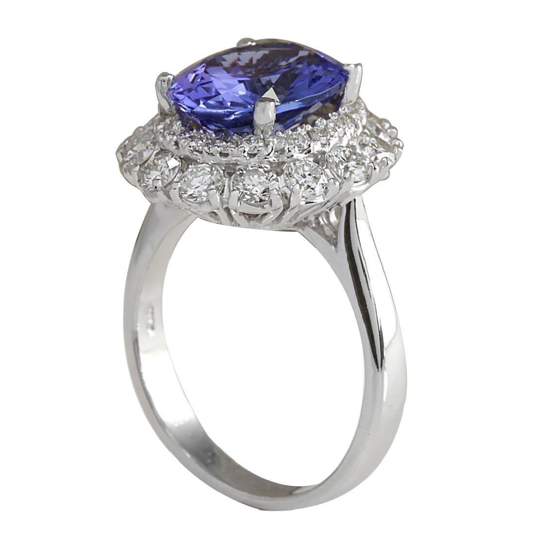 4.88CTW Natural Blue Tanzanite And Diamond Ring 18K - 3