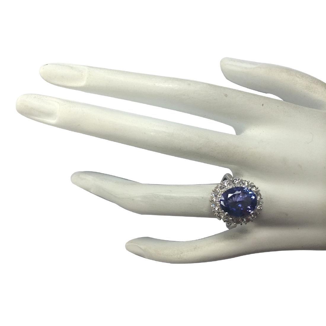 4.88CTW Natural Blue Tanzanite And Diamond Ring 18K - 4