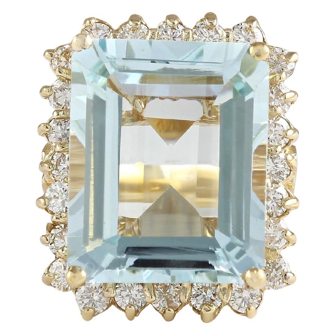12.30 CTW Natural Blue Aquamarine And Diamond Ring In