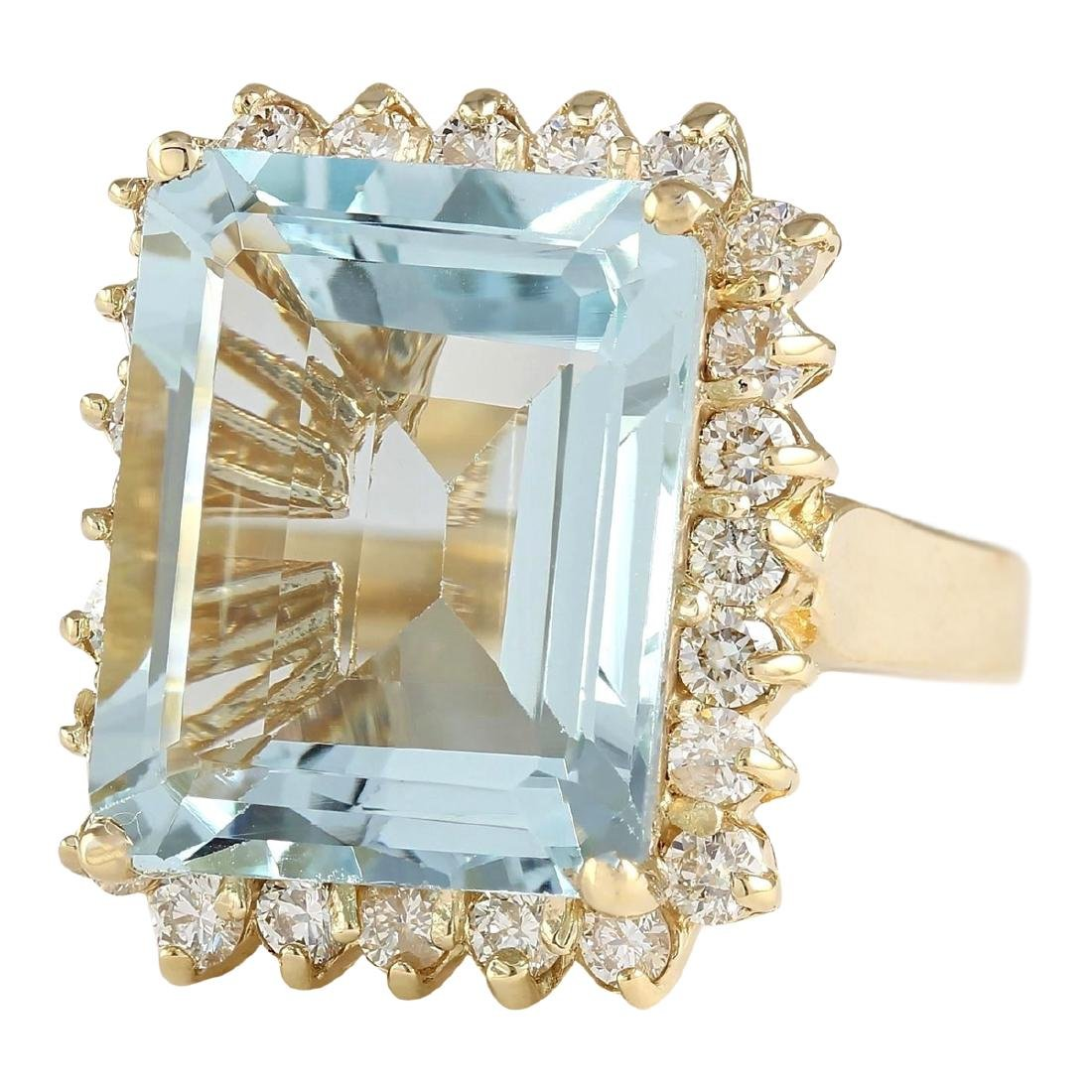 12.30 CTW Natural Blue Aquamarine And Diamond Ring In - 2