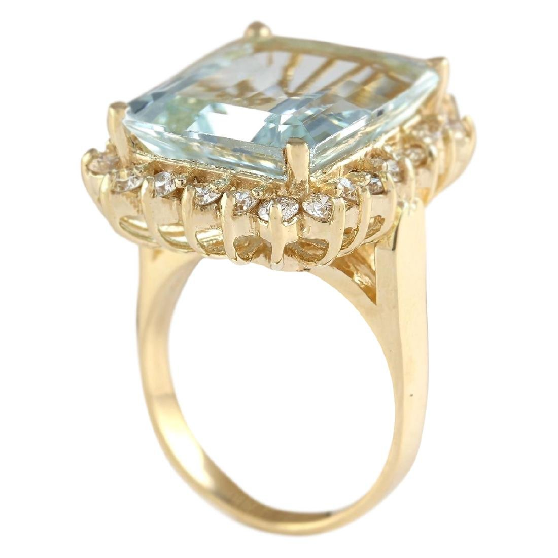 12.30 CTW Natural Blue Aquamarine And Diamond Ring In - 3