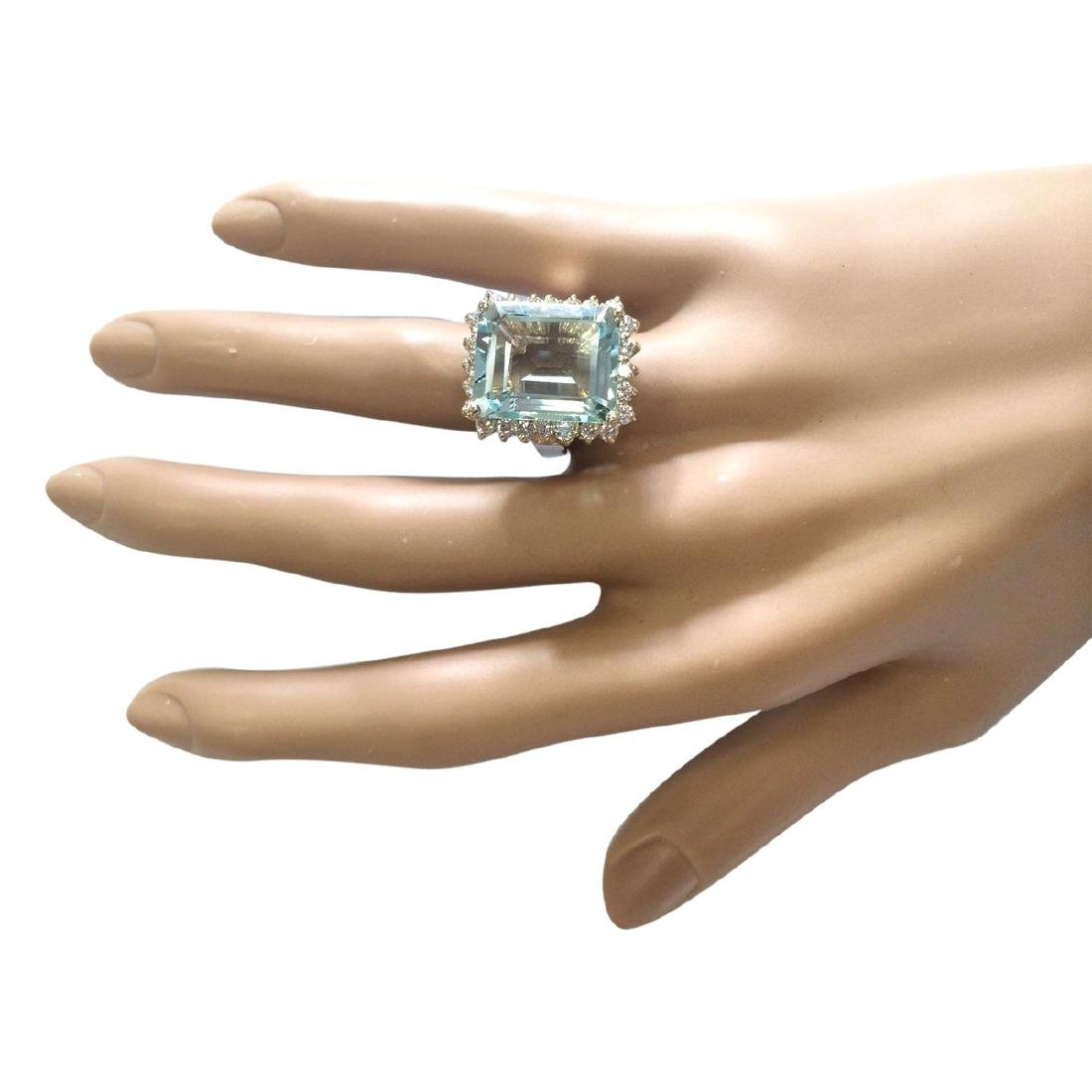 12.30 CTW Natural Blue Aquamarine And Diamond Ring In - 4