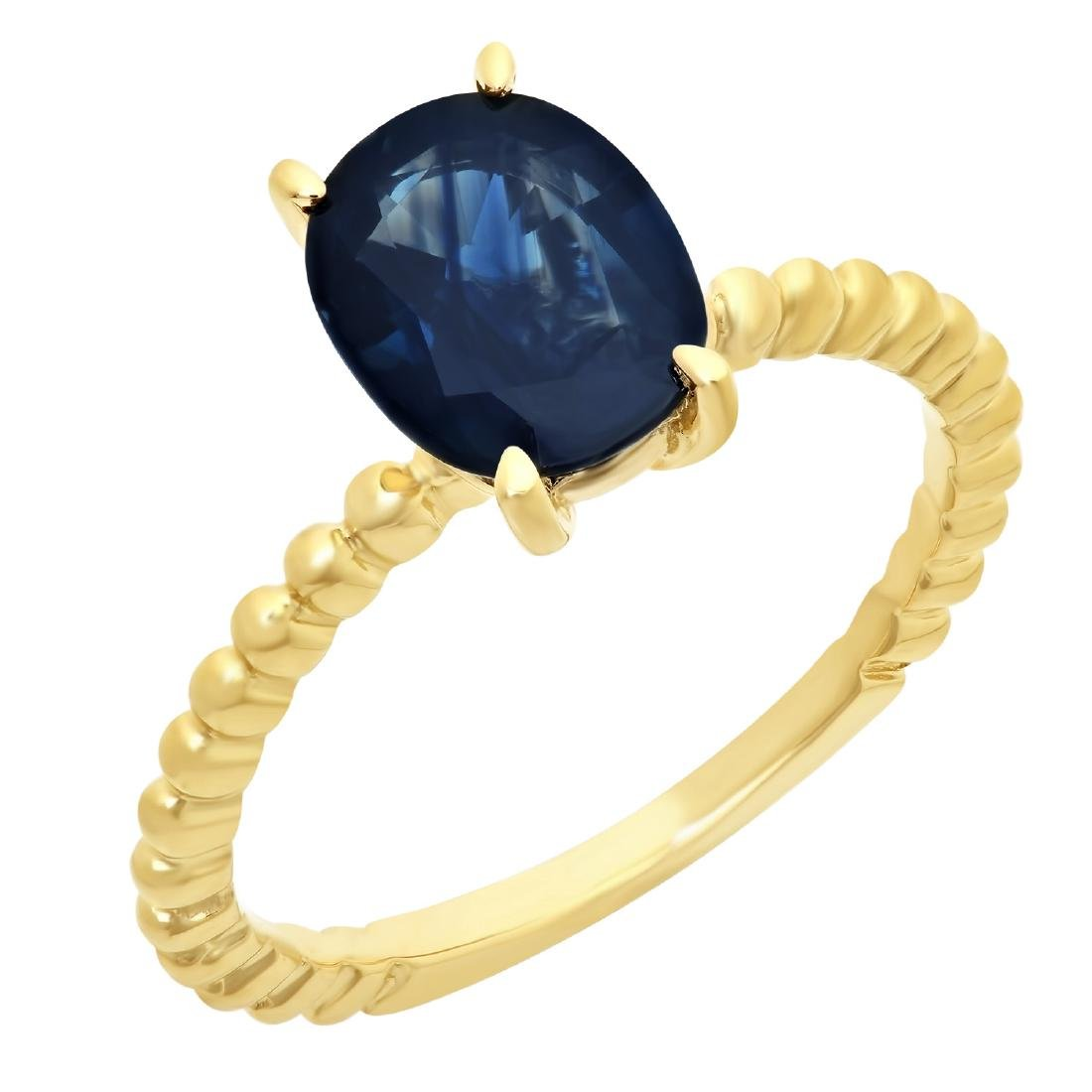 2.00 Carat Natural Sapphire 18K Solid Yellow Gold Ring