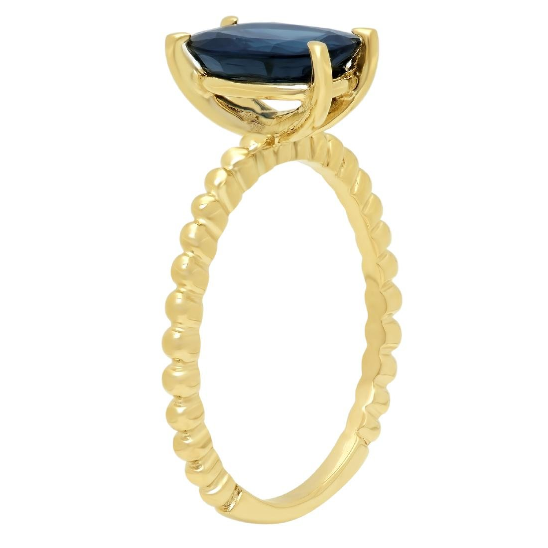 2.00 Carat Natural Sapphire 18K Solid Yellow Gold Ring - 2