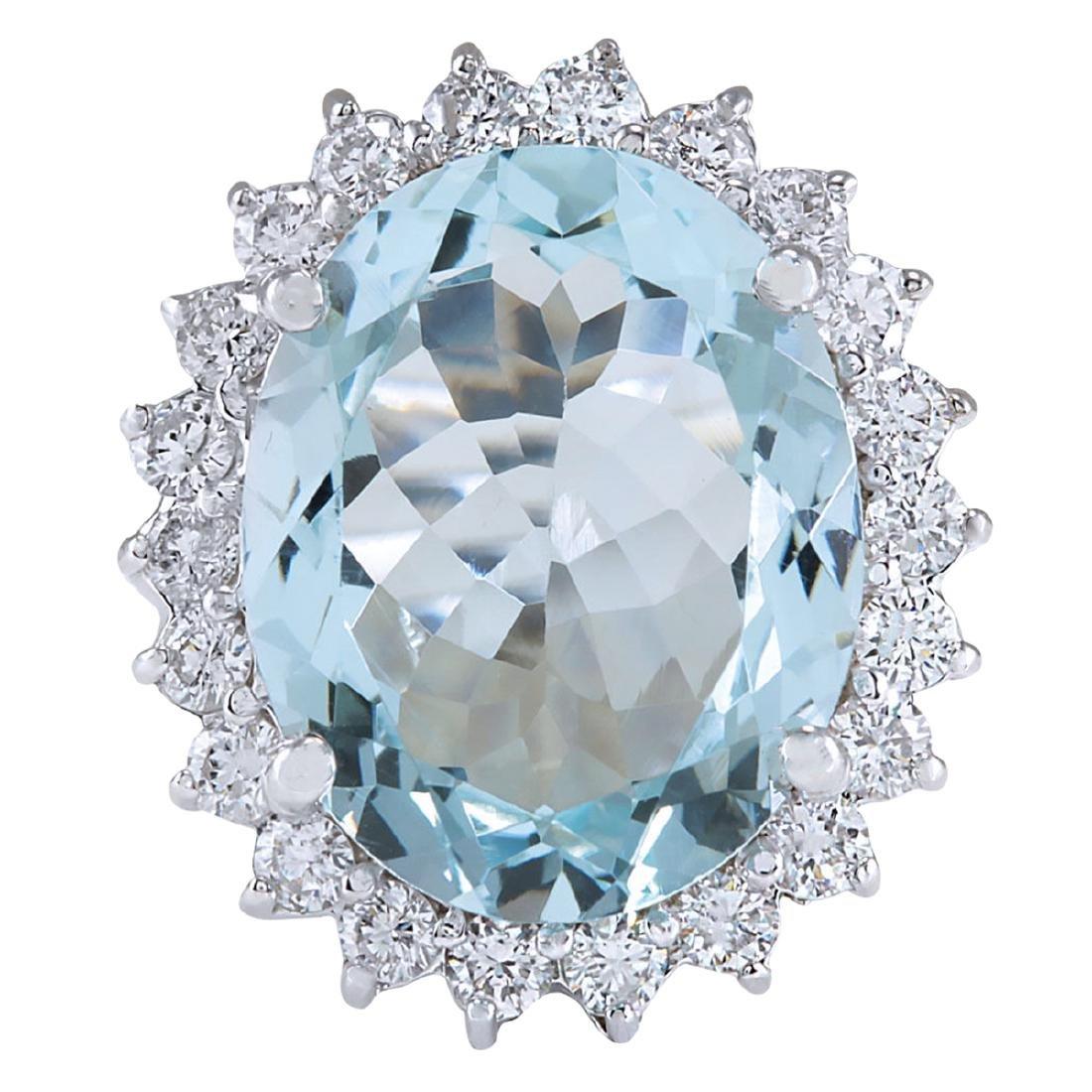 8.91CTW Natural Aquamarine And Diamond Ring In 18K