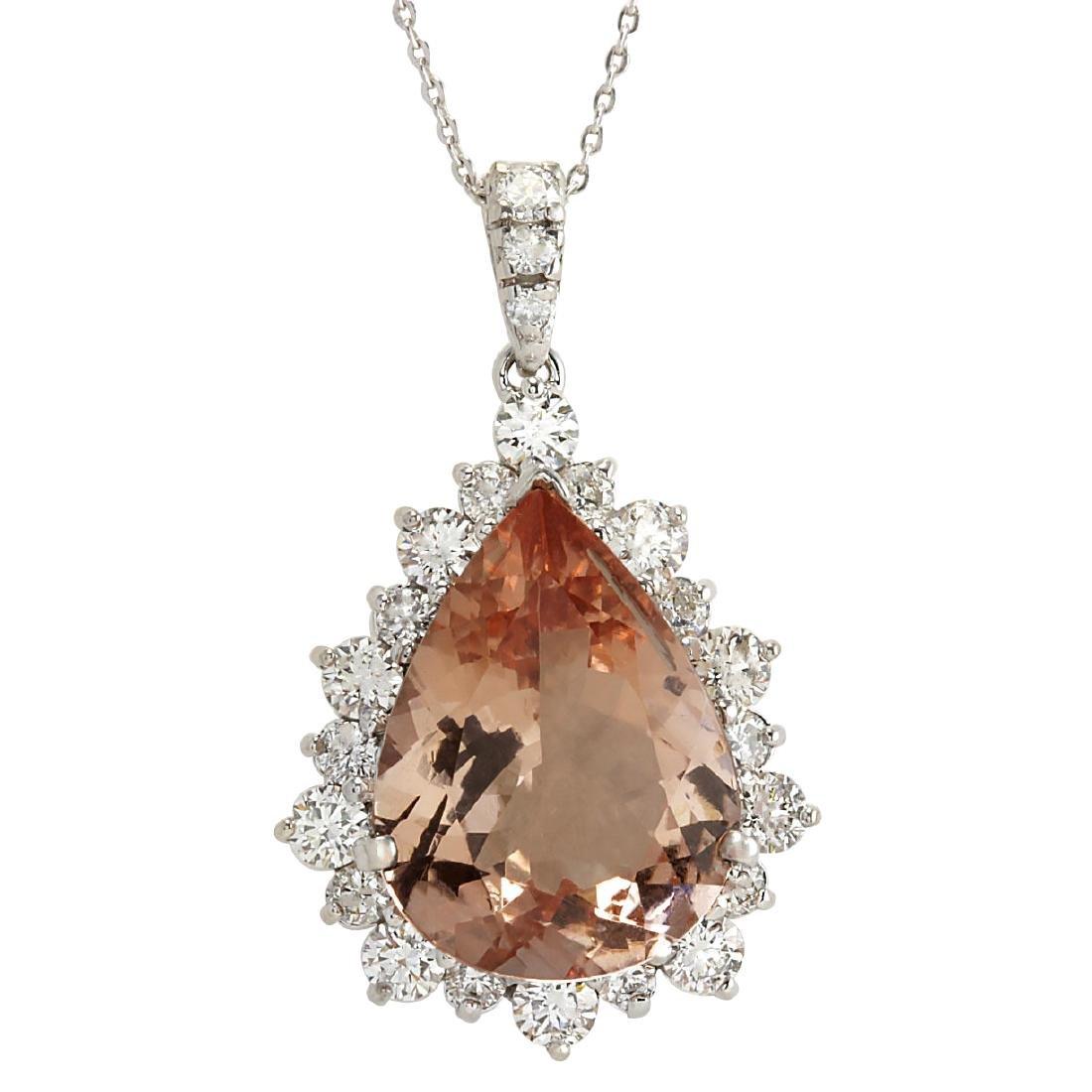 13.42CTW Natural Morganite And Diamond Pendant In 18K