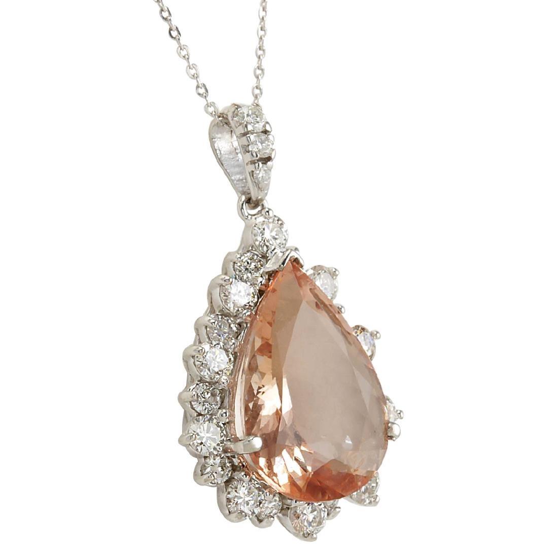 13.42CTW Natural Morganite And Diamond Pendant In 18K - 2