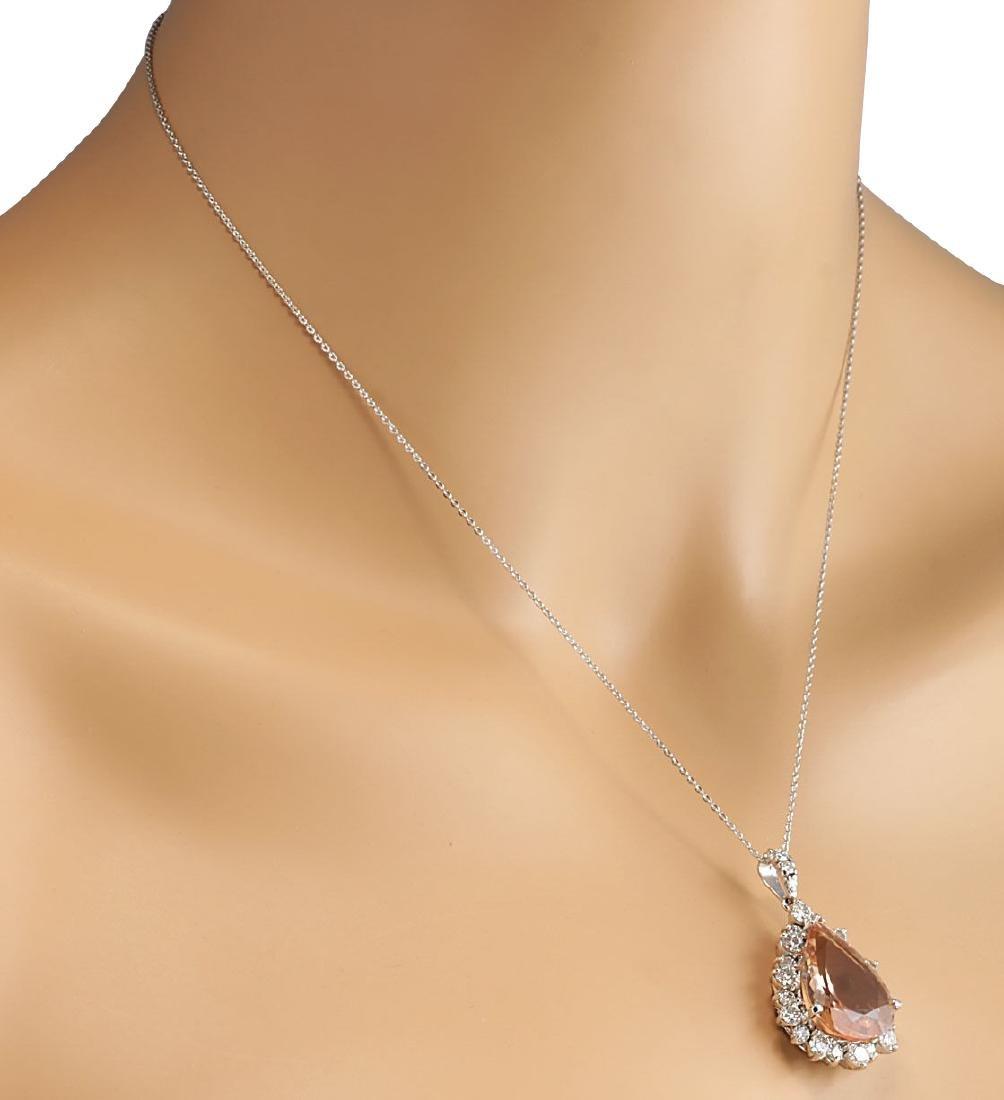13.42CTW Natural Morganite And Diamond Pendant In 18K - 4
