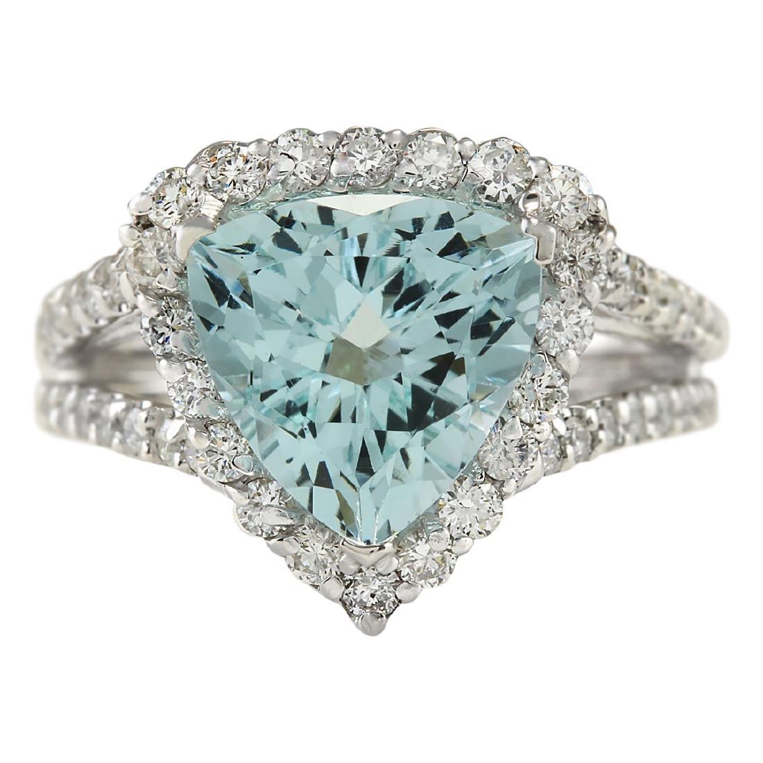 3.52 CTW Natural Aquamarine And Diamond Ring In 18K